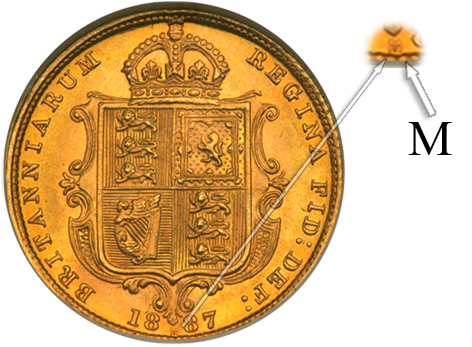 M letter meaning this coin was minted in Melbourne mint (Half Sovereign coin from 1887) displayed between date 18 and 87