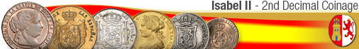 Spain coins from 1865-68  -  ISABEL II - 2nd Decimal Coinage