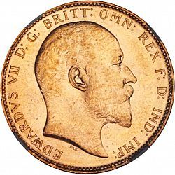 Large Obverse for Sovereign 1906 coin