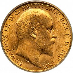 Large Obverse for Sovereign 1907 coin