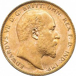 Large Obverse for Sovereign 1910 coin