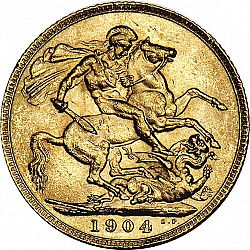Large Reverse for Sovereign 1904 coin