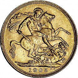 Large Reverse for Sovereign 1905 coin