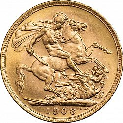 Large Reverse for Sovereign 1906 coin