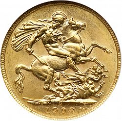 Large Reverse for Sovereign 1909 coin