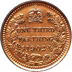 Large Reverse for Third Farthing 1902 coin