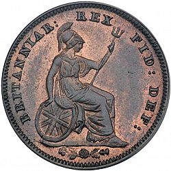 Large Reverse for Third Farthing 1835 coin