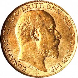 Large Obverse for Half Sovereign 1910 coin