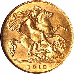 Large Reverse for Half Sovereign 1910 coin