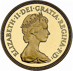 Large Obverse for Half Sovereign 1982 coin