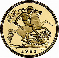Large Reverse for Half Sovereign 1982 coin