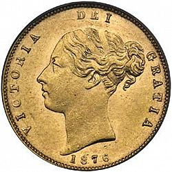 Large Obverse for Half Sovereign 1876 coin