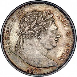 Large Obverse for Halfcrown 1816 coin