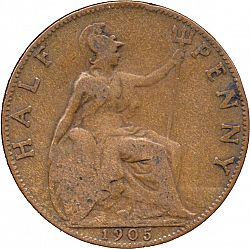 Large Reverse for Halfpenny 1905 coin
