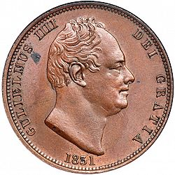 Large Obverse for Halfpenny 1831 coin