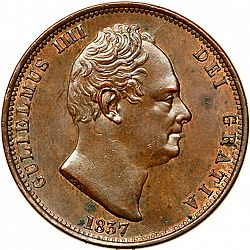 Large Obverse for Halfpenny 1837 coin