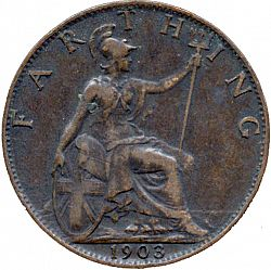 Large Reverse for Farthing 1903 coin