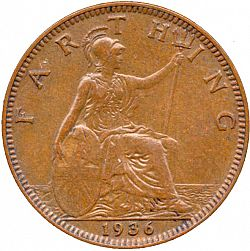 Large Reverse for Farthing 1936 coin