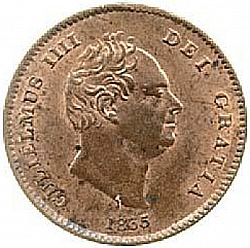 Large Obverse for Farthing 1835 coin