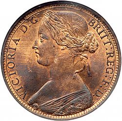 Large Obverse for Penny 1862 coin
