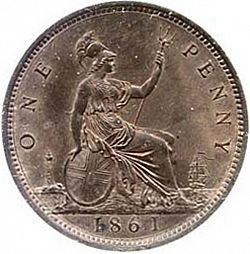 Large Reverse for Penny 1861 coin