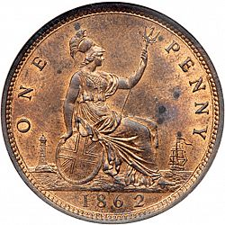 Large Reverse for Penny 1862 coin