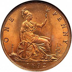 Large Reverse for Penny 1892 coin
