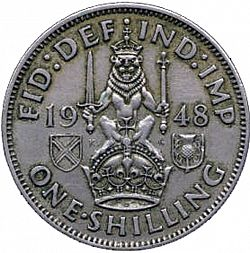 Large Reverse for Shilling 1948 coin