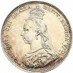 Large Obverse for Shilling 1887 coin