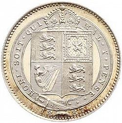 Large Reverse for Shilling 1887 coin