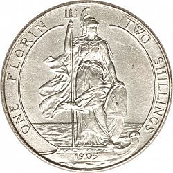 Large Reverse for Florin 1905 coin