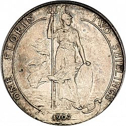 Large Reverse for Florin 1907 coin