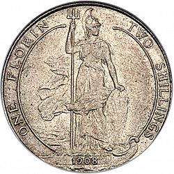 Large Reverse for Florin 1908 coin