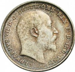 Large Obverse for Threepence 1902 coin