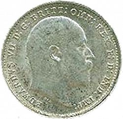 Large Obverse for Threepence 1907 coin