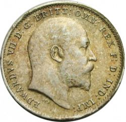 Large Obverse for Threepence 1909 coin