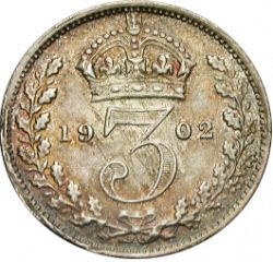 Large Reverse for Threepence 1902 coin