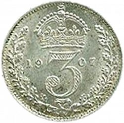 Large Reverse for Threepence 1907 coin