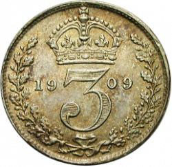 Large Reverse for Threepence 1909 coin