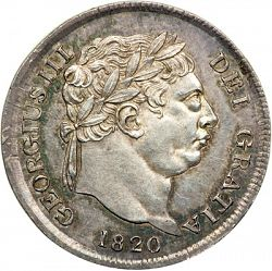 Large Obverse for Threepence 1820 coin