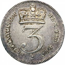 Large Reverse for Threepence 1820 coin