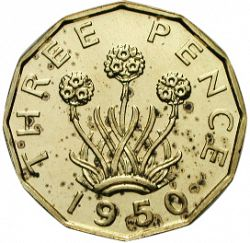Large Reverse for Threepence 1950 coin