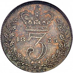 Large Reverse for Threepence 1835 coin