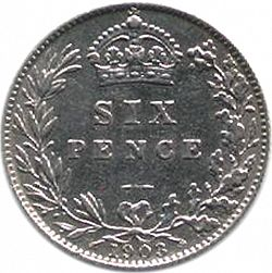 Large Reverse for Sixpence 1903 coin