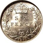 Large Reverse for Sixpence 1910 coin