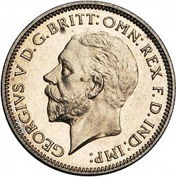 Large Obverse for Sixpence 1933 coin