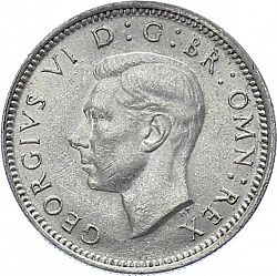 Large Obverse for Sixpence 1942 coin