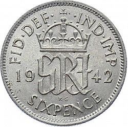 Large Reverse for Sixpence 1942 coin