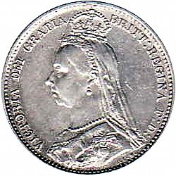 Large Obverse for Sixpence 1887 coin
