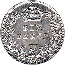 Large Reverse for Sixpence 1887 coin